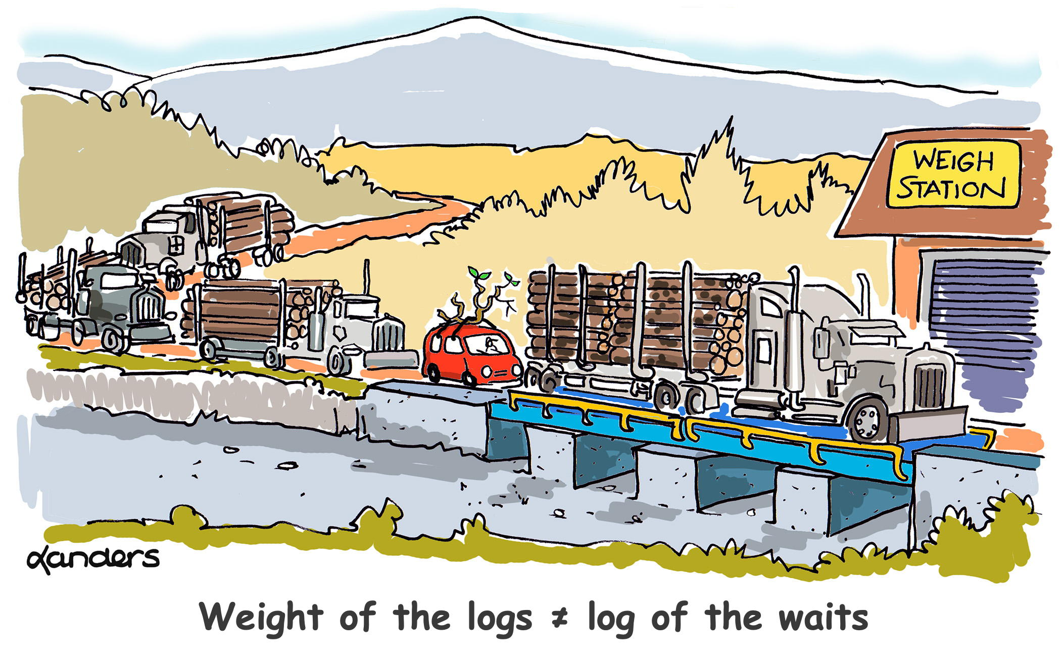 cartoon showing truck scale (trucks holding logs)