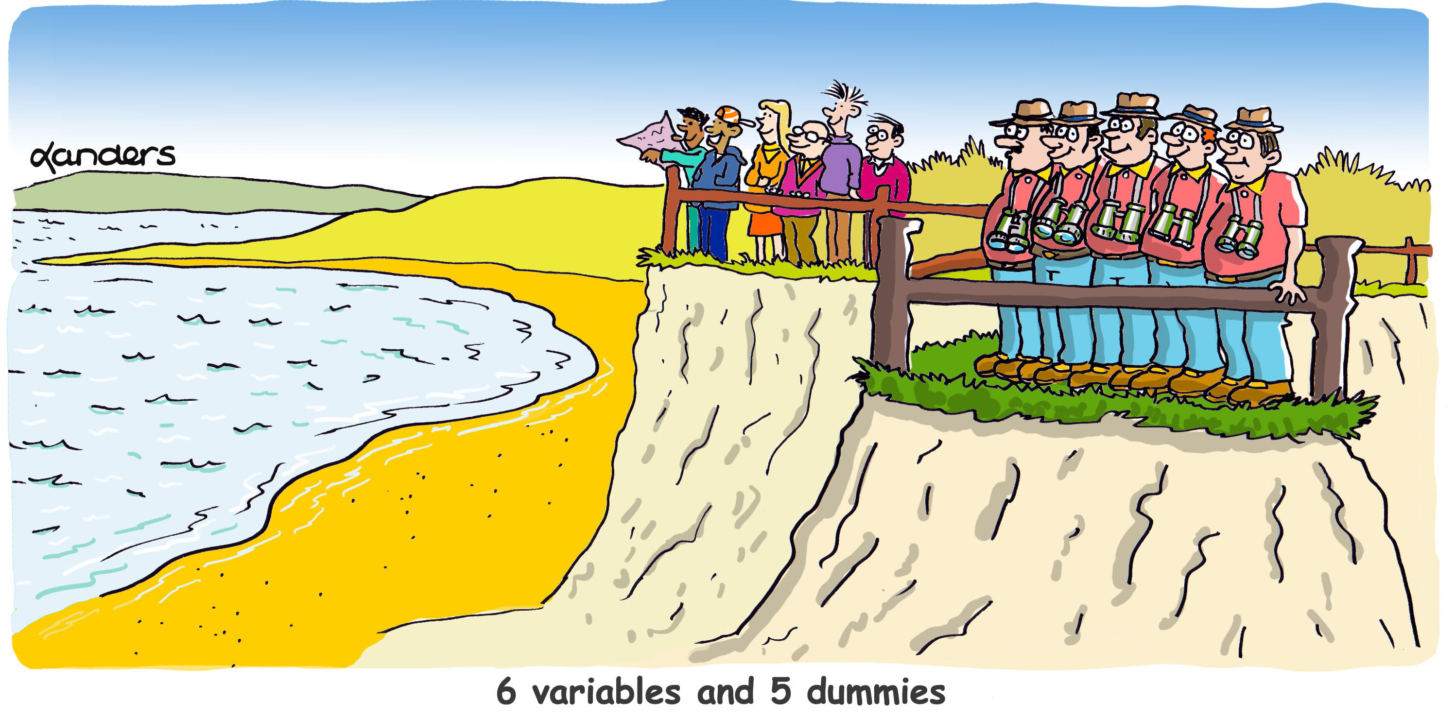 Cartoon with two groups overlooking Bay (one homogeneous and one diverse)