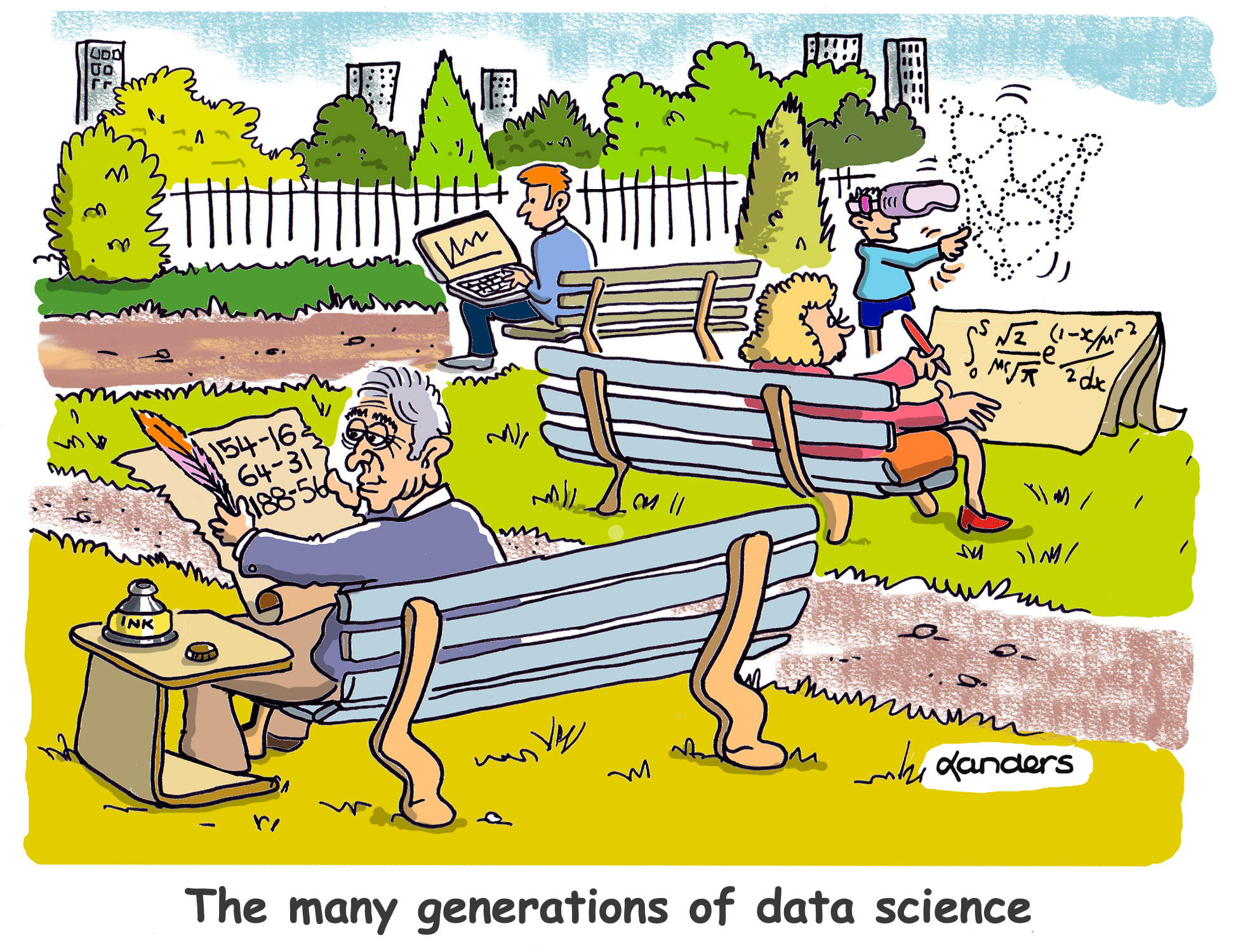 cartoon showing changes in data approaches across generations
