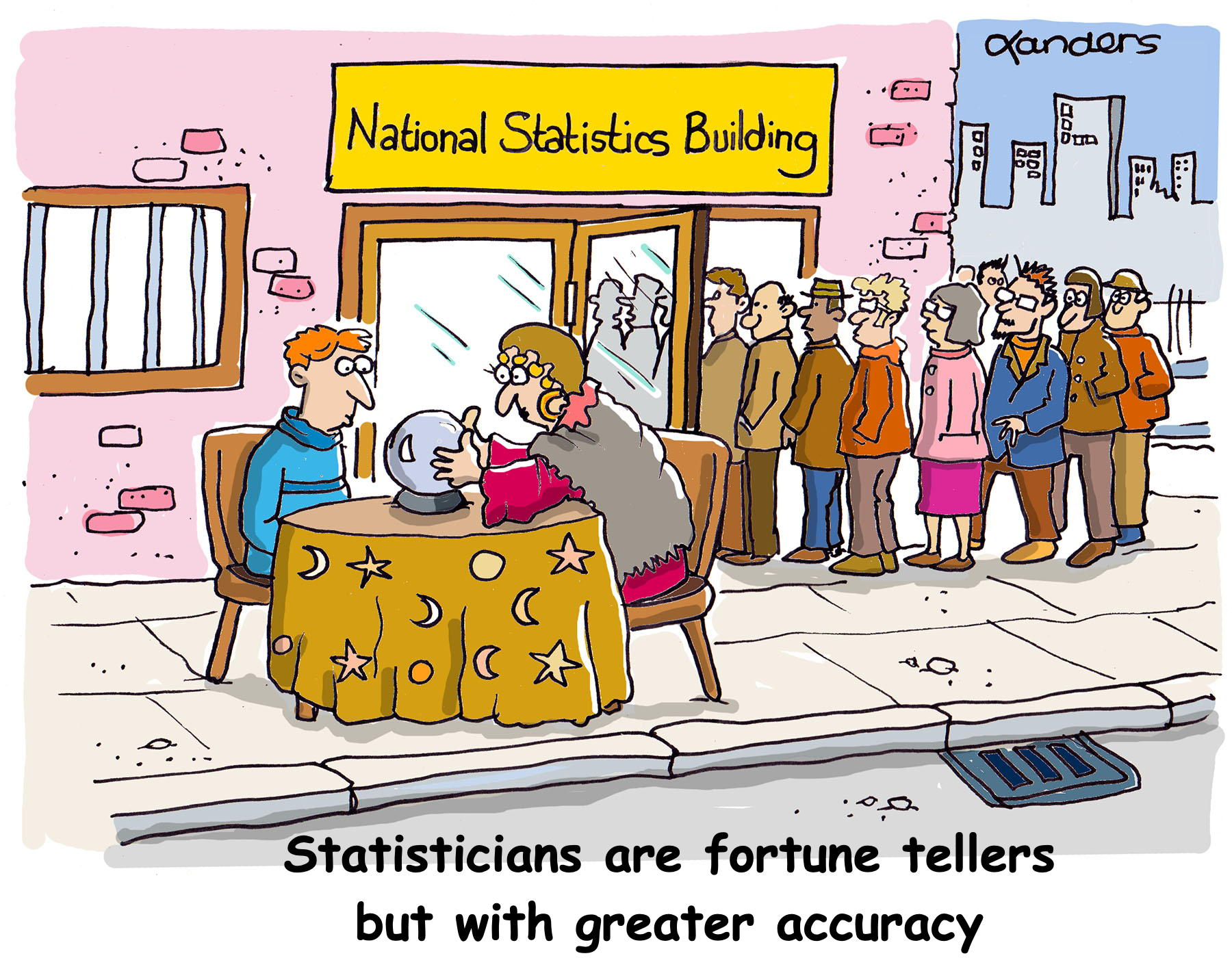 Cartoon with fortune teller and statisticians