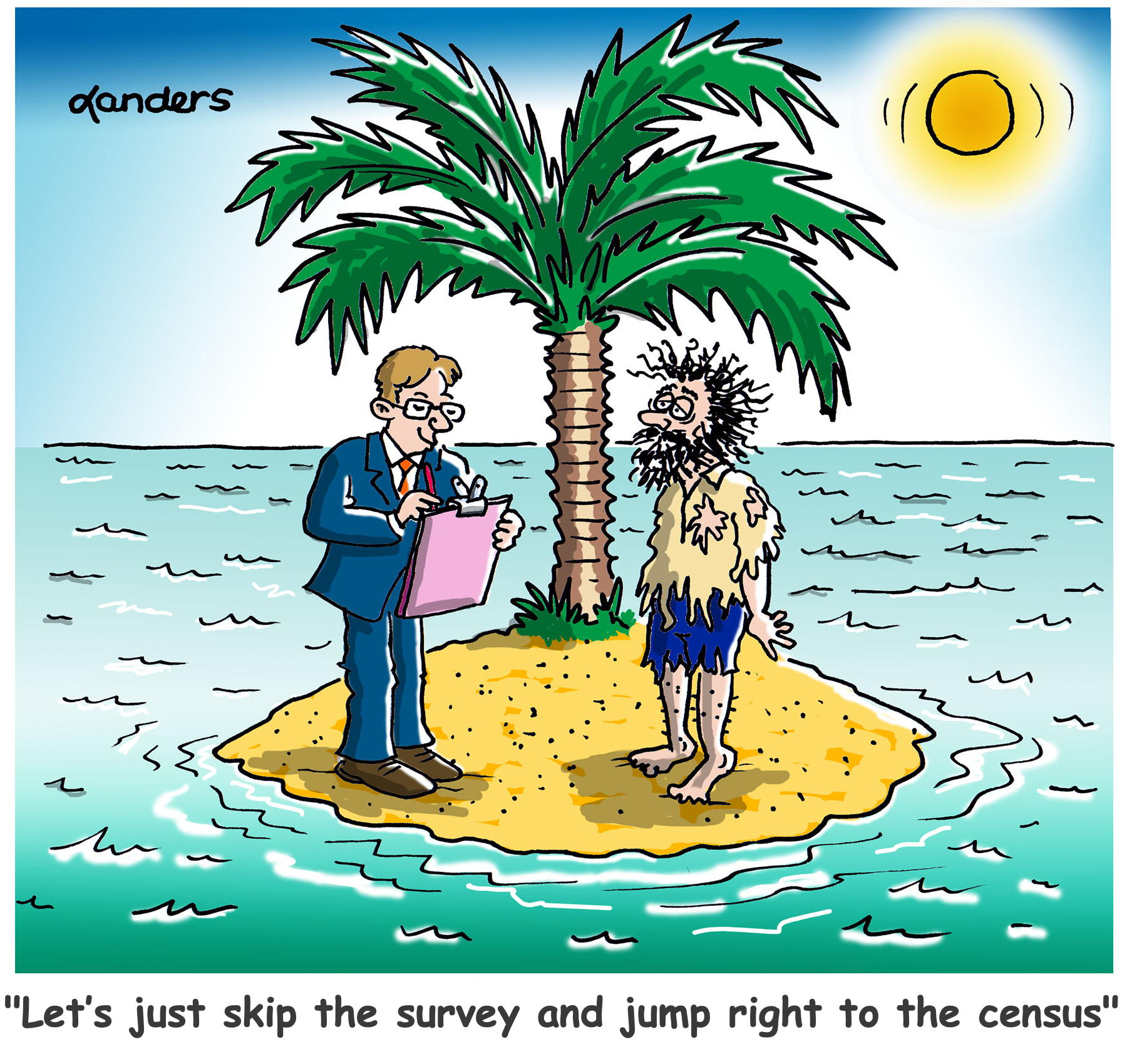 census taker on desert island with one resident