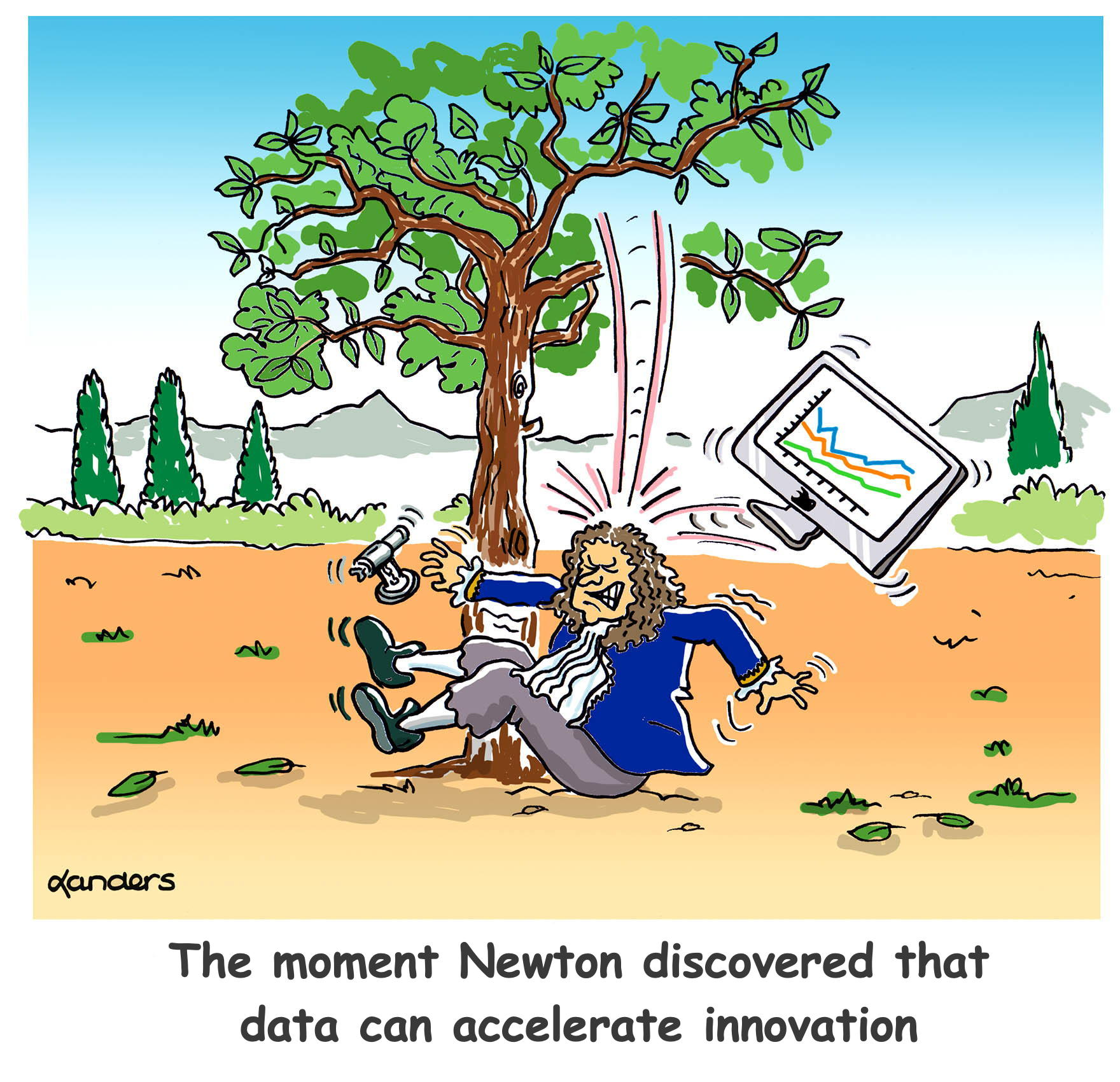 Cartoon with Isaac Newton apple tree fable (but apple is a computer)