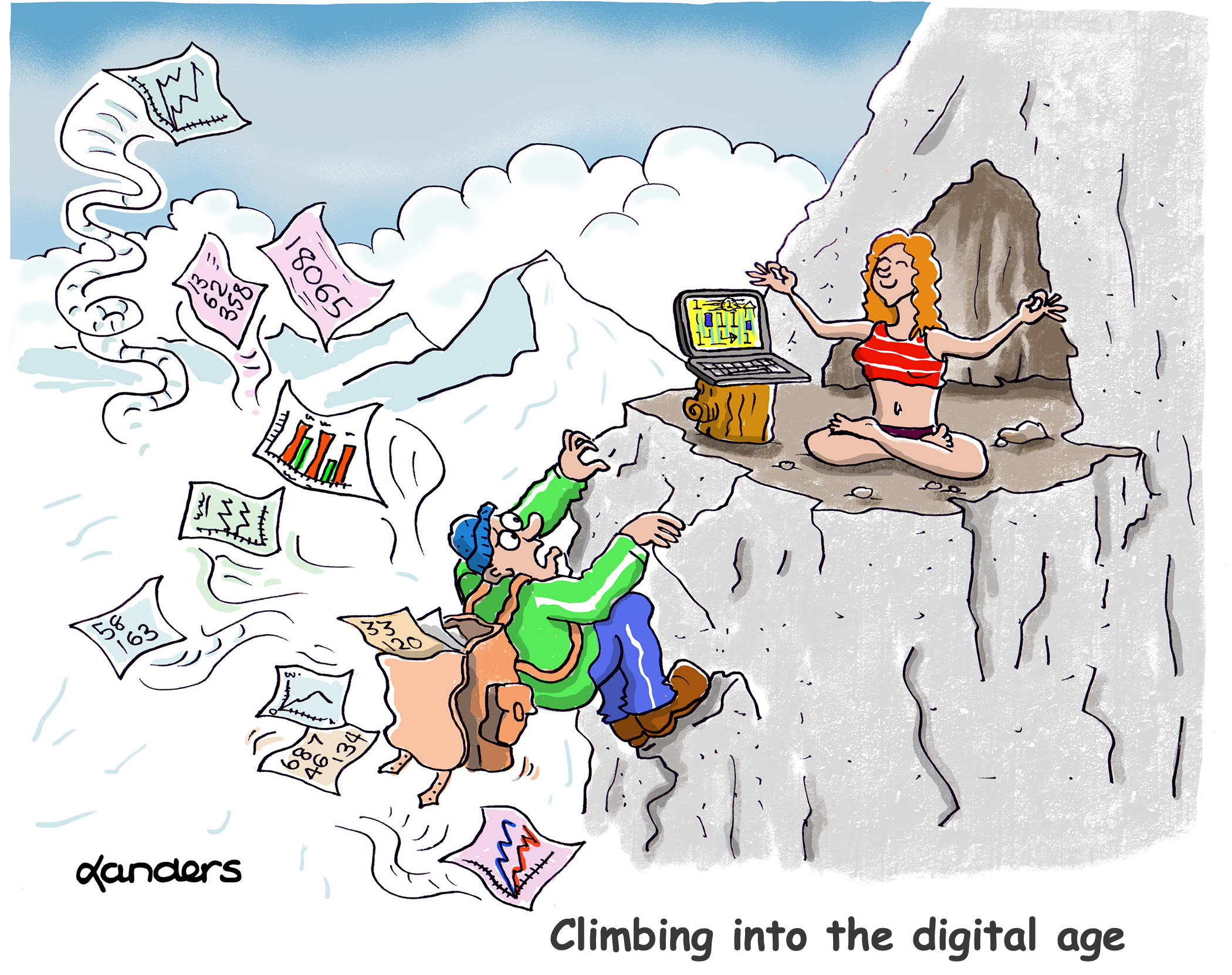 Cartoon of man climbing mountain to see Guru (data and graphs coming out of backpack)