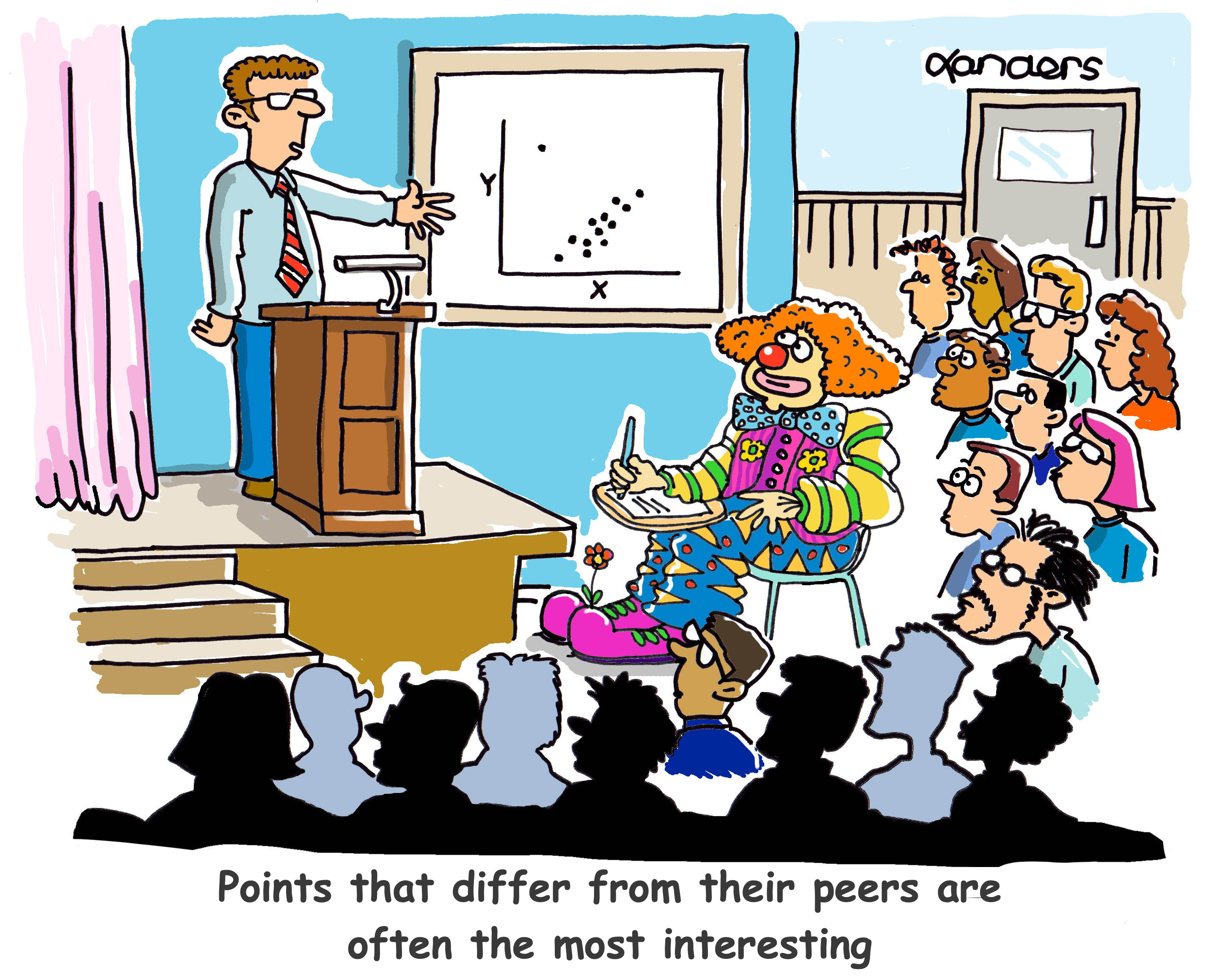 cartoon showing a class where one student is dressed as a clown