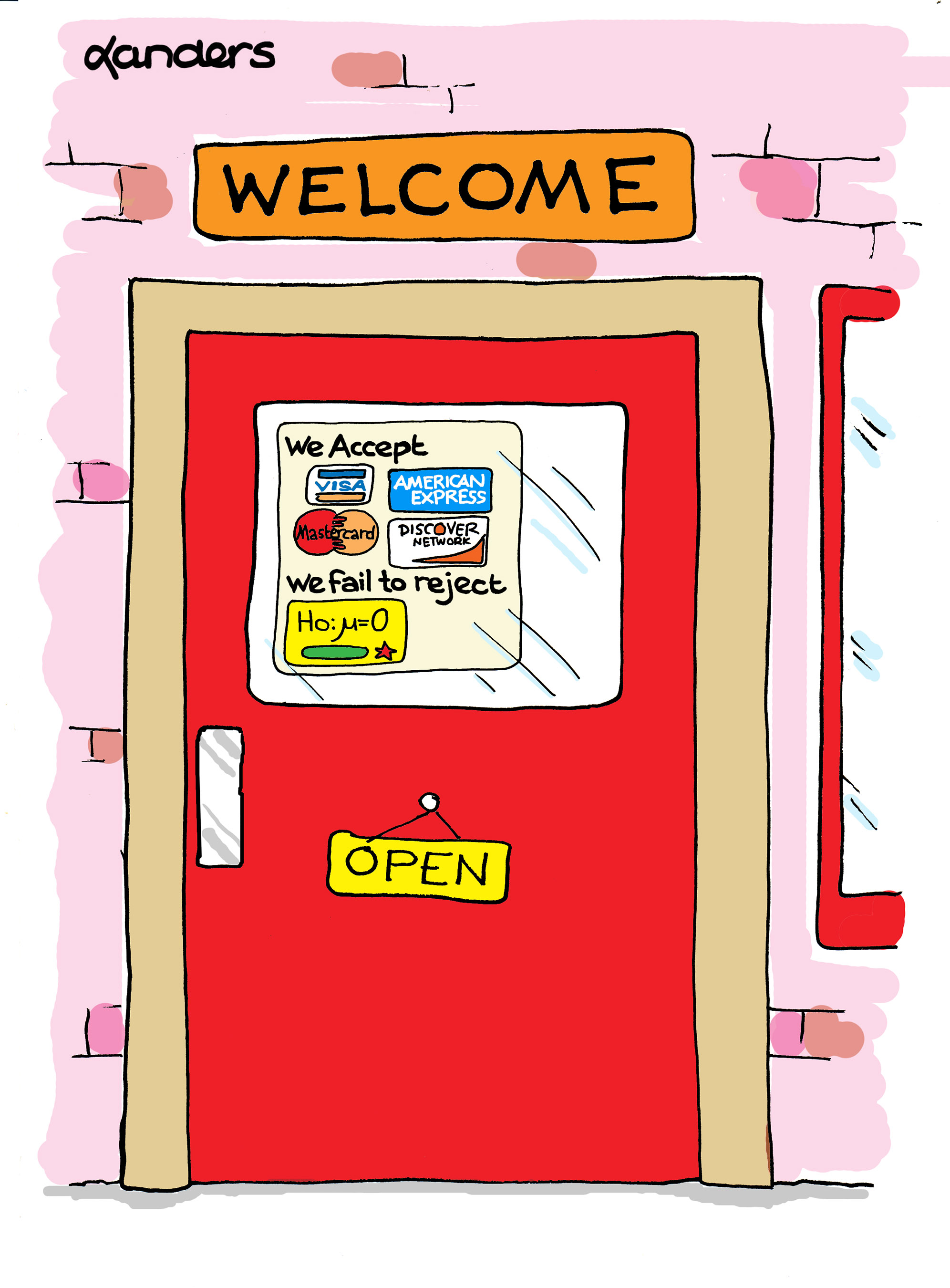 cartoon with door showing credit cards accepted and null hypothesis that is failed to be rejected  sc 1 st  CAUSEweb & Business Door | CAUSEweb