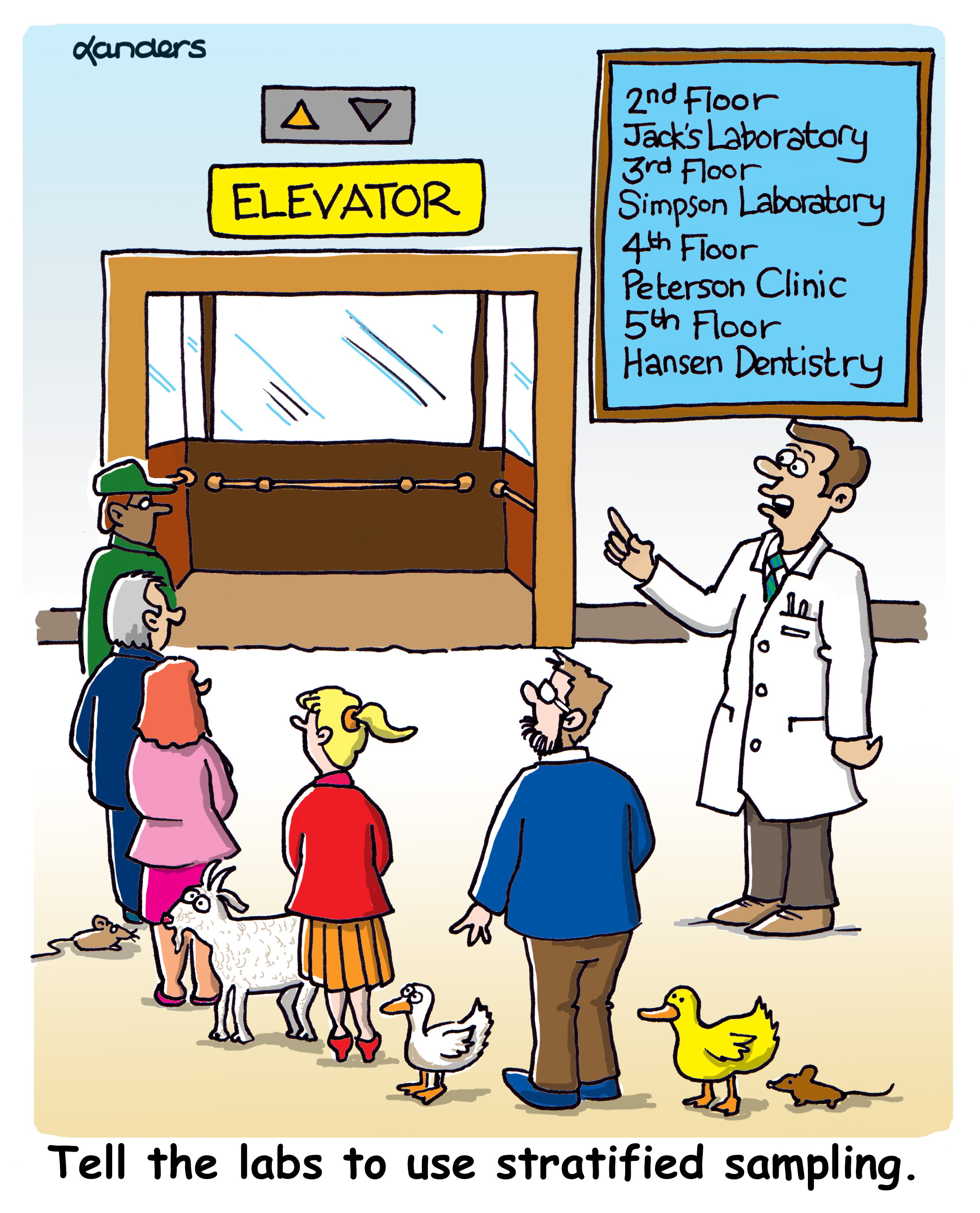 Cartoon showing people and various animals approaching an elevator