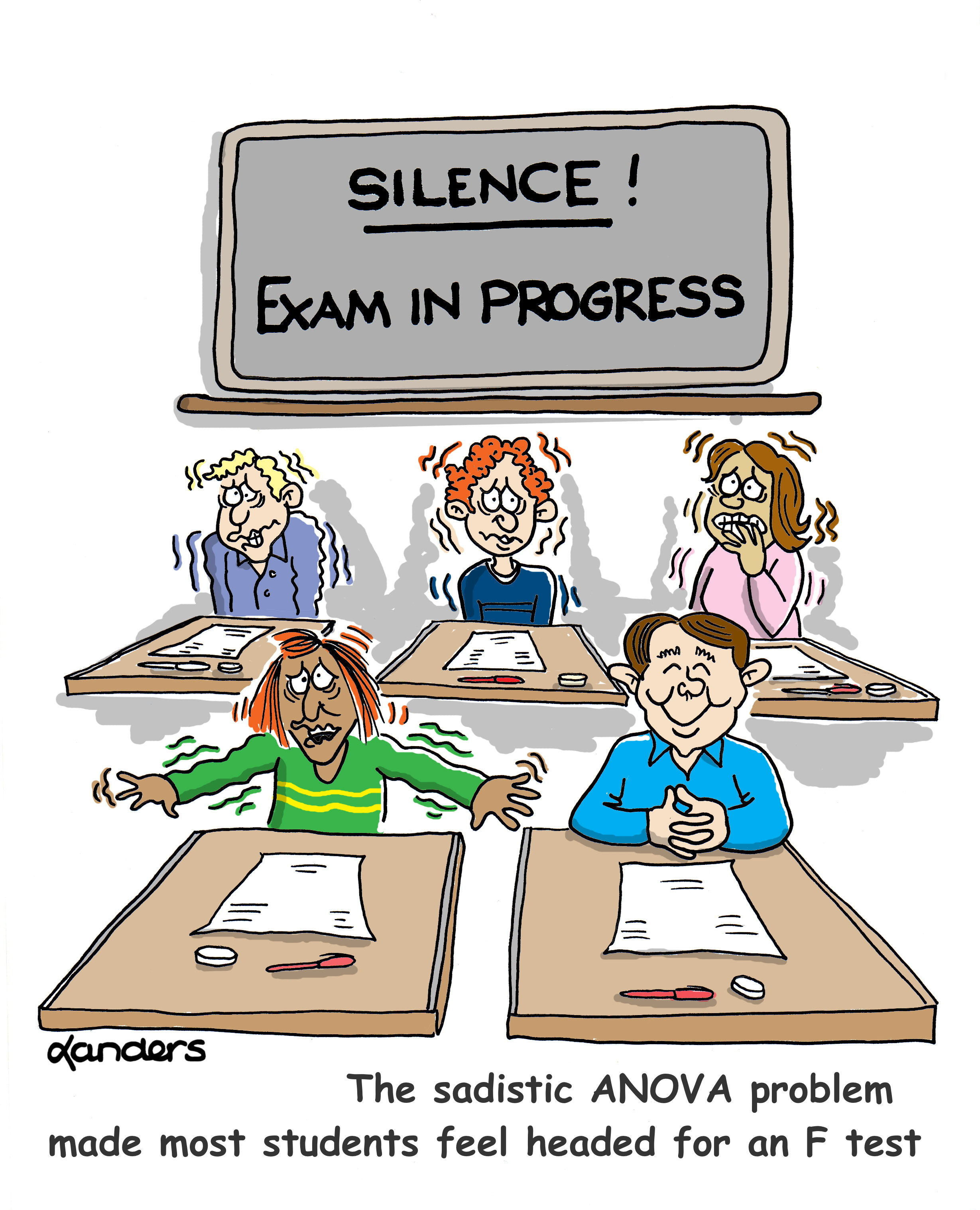 cartoon showing five students taking a test with 4 appearing very anxious and one appearing very calm