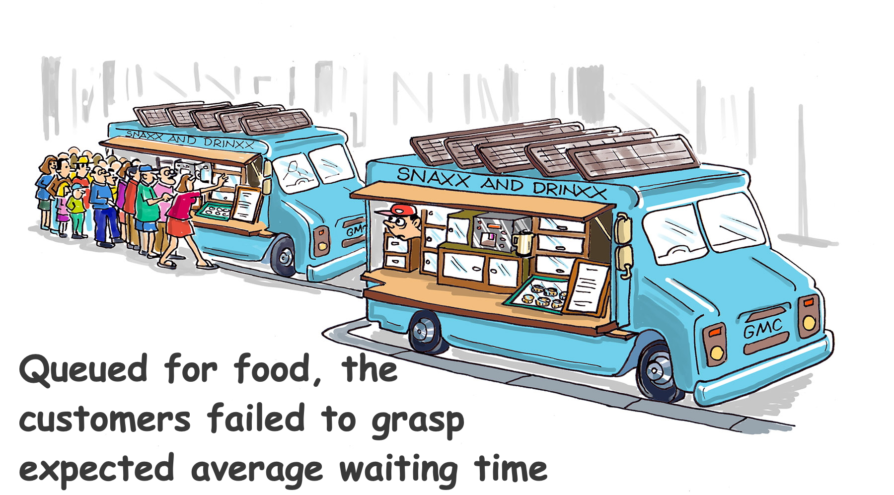 a cartoon with two identical food trucks, but one has a long line of customers and the other has none