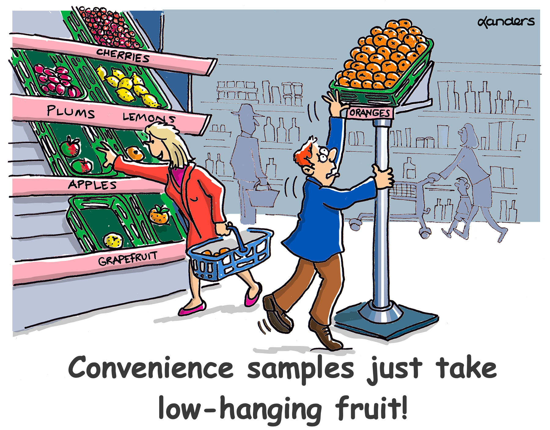 a cartoon showing fruit area of a grocery store with some fruit very hard to reach