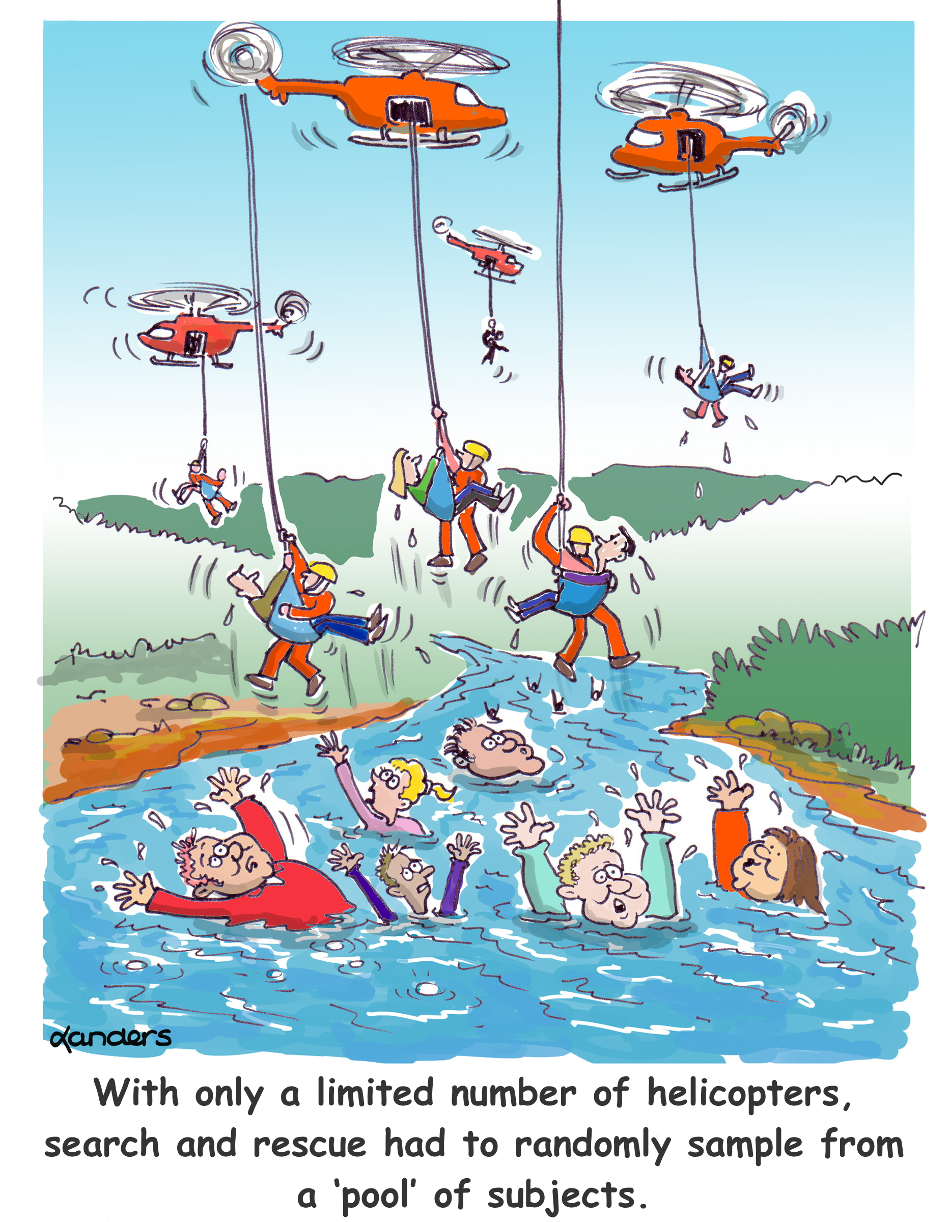 cartoon showing helicopter rescue of drowning people with caption