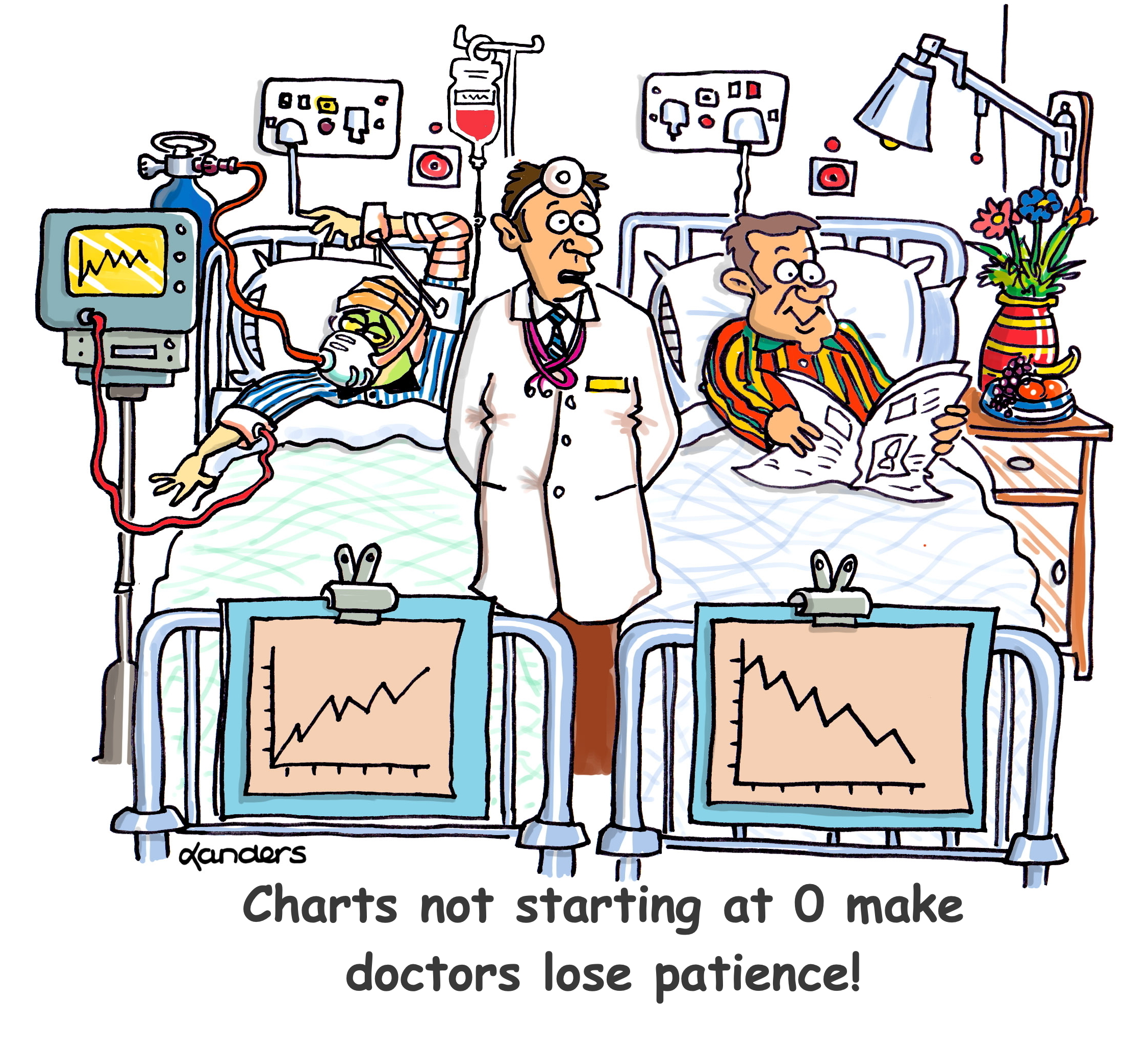 a cartoon showing two patients in a hospital with graphs about their status on their beds