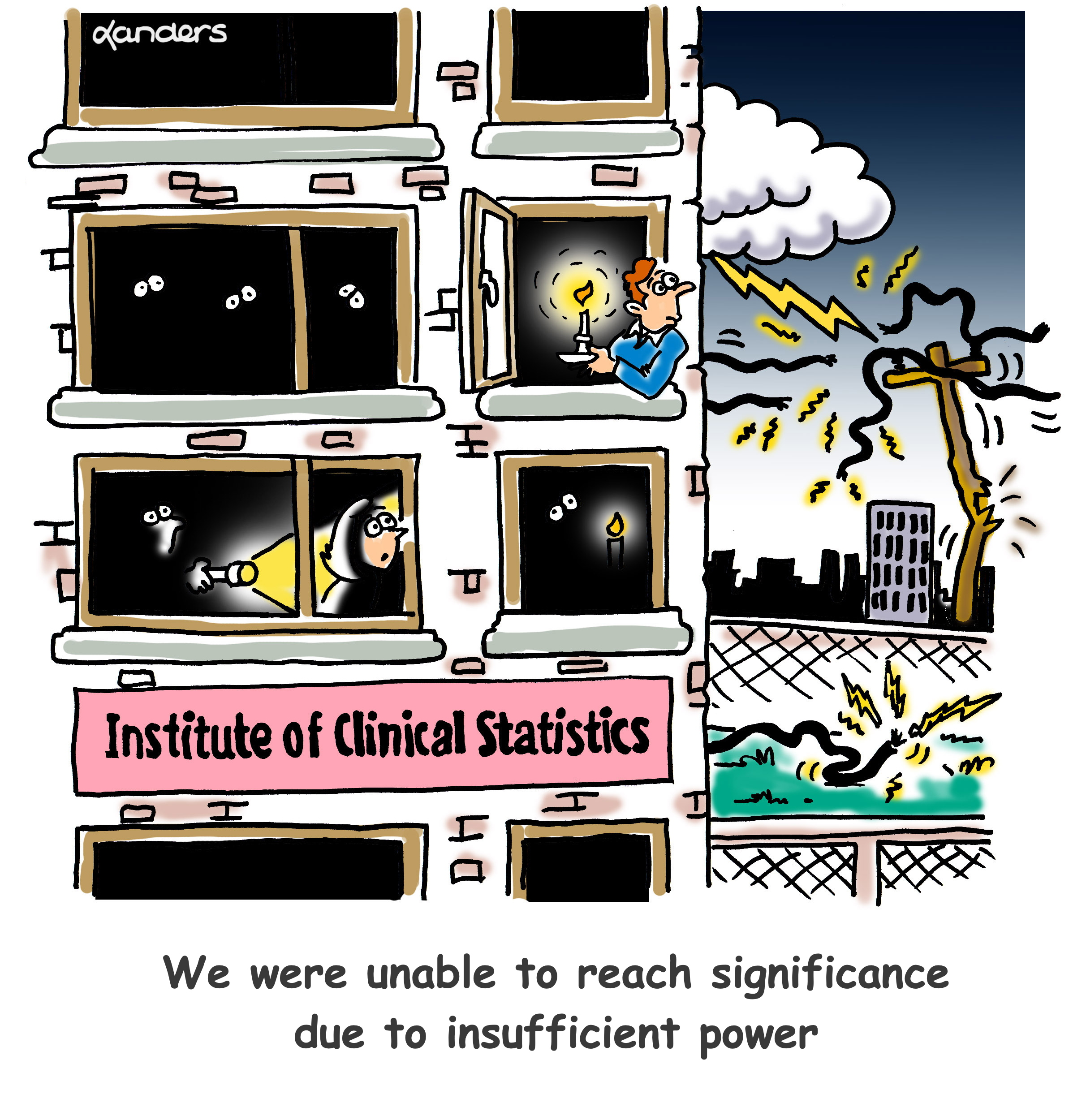 cartoon showing a power outage at a statistics institute