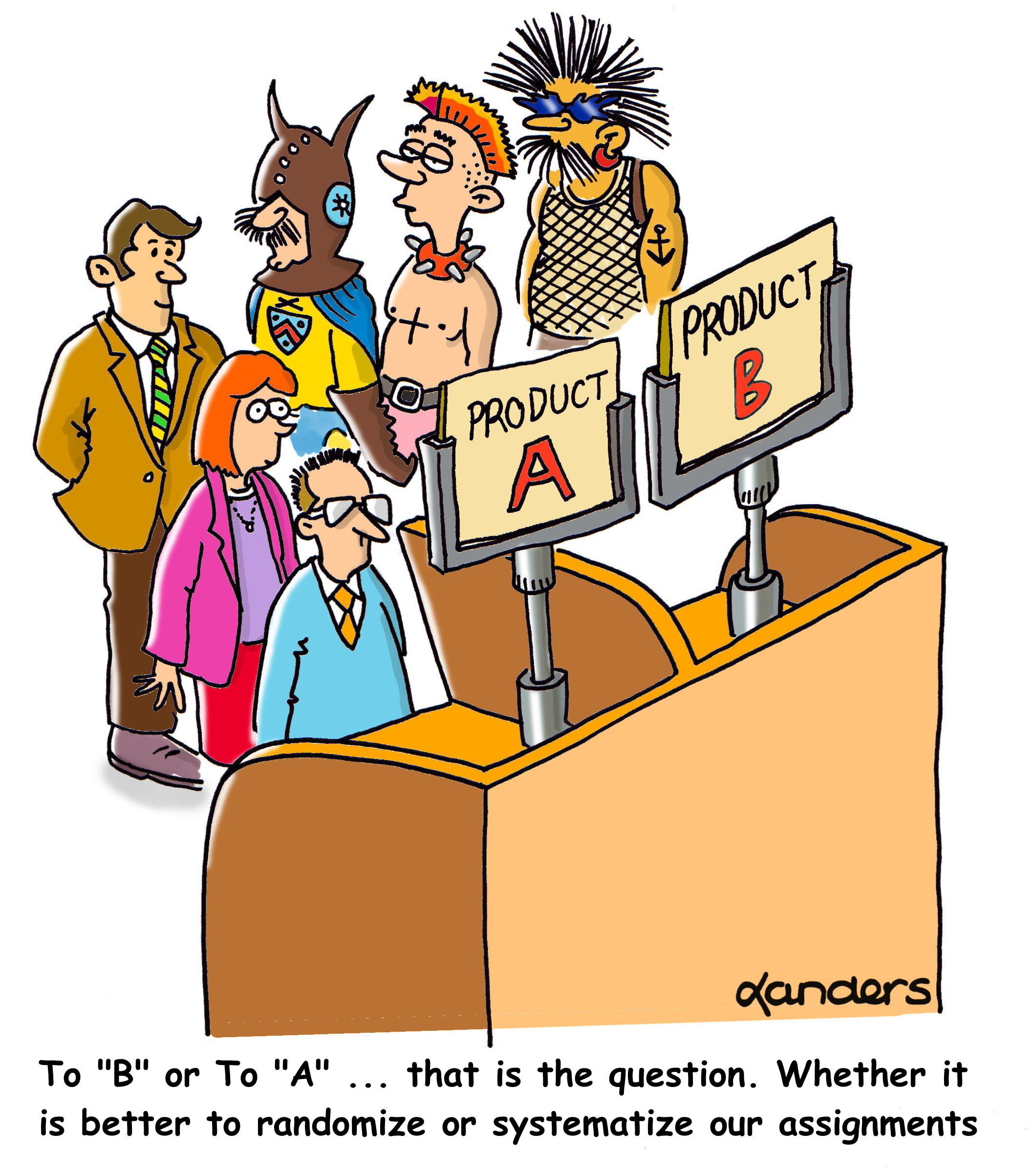 cartoon showing product testing booth with 3 conservatively dressed and 3 wildly dressed subjects