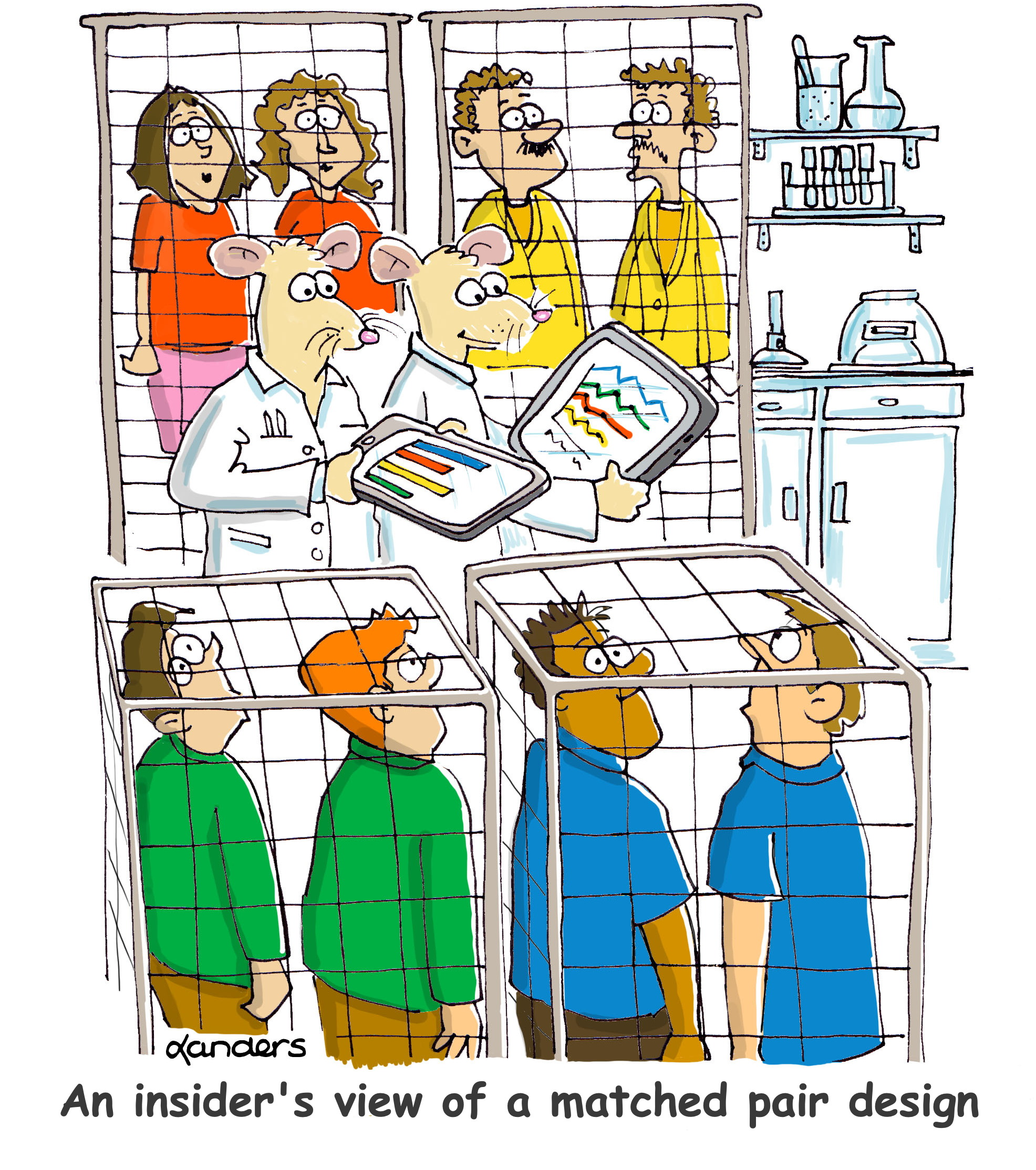 cartoon showing lab with people in cages and rats running the lab
