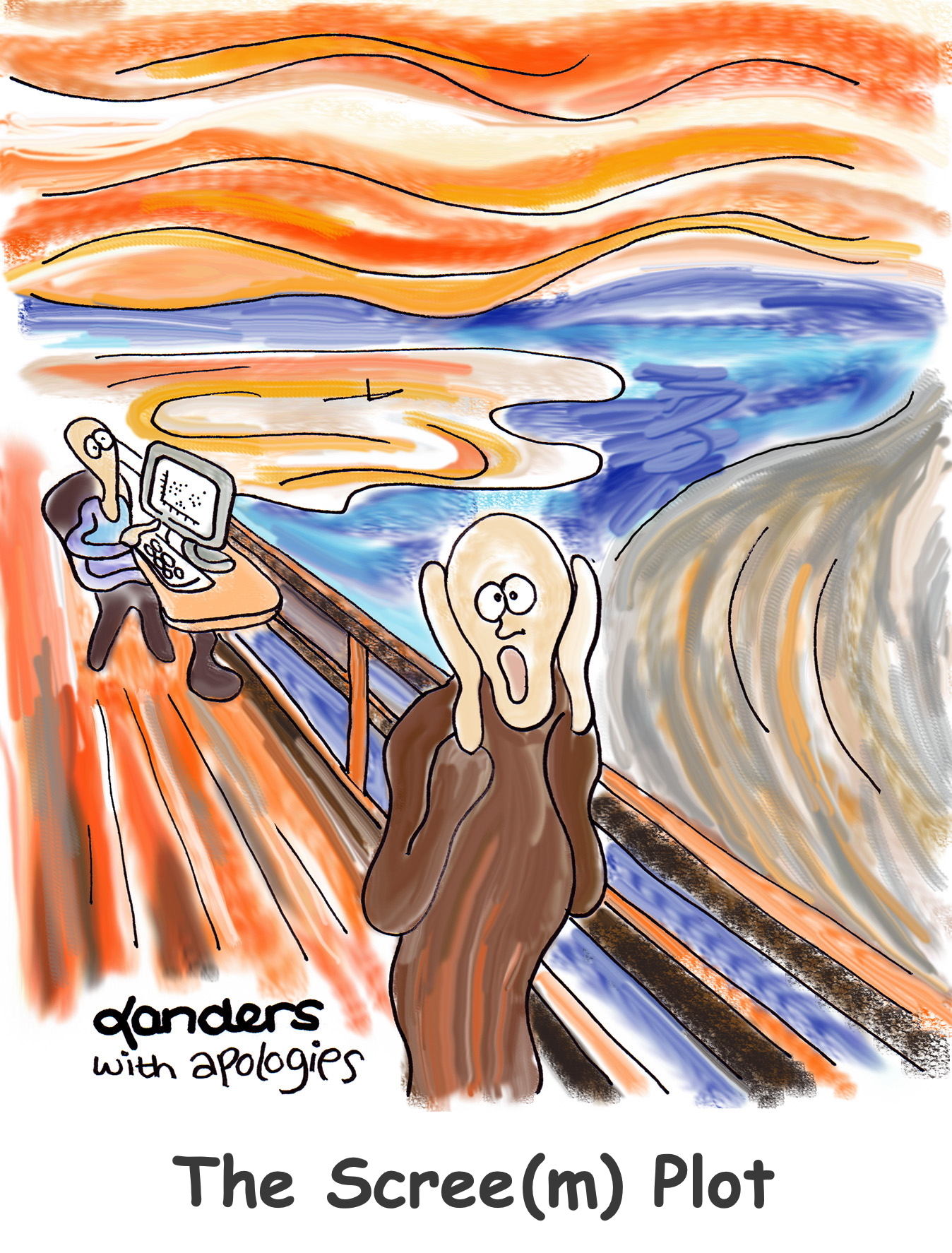 cartoon depiction of Edvard Munch's The Scream