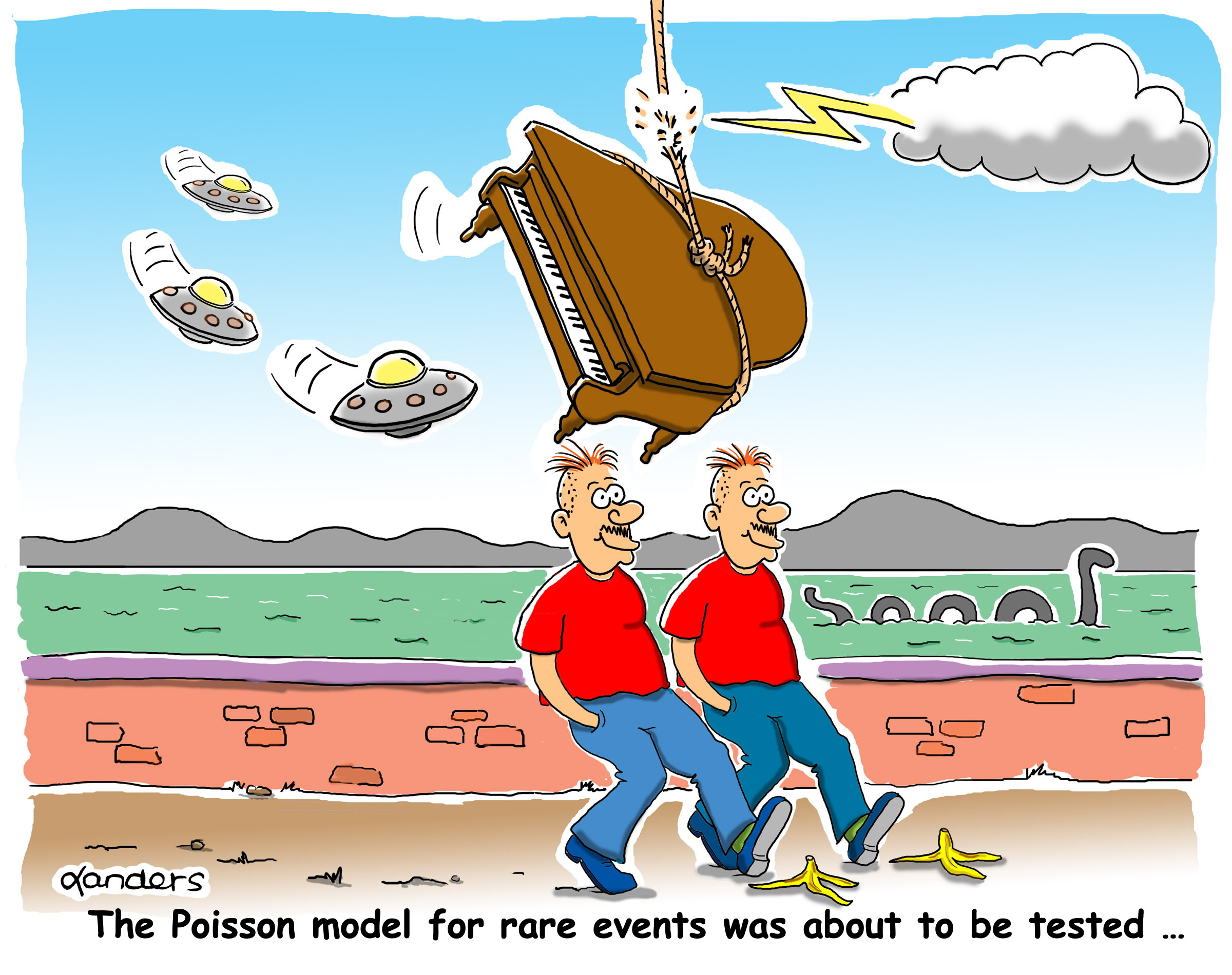 cartoon showing unusual circumstances and punch line about Poisson model
