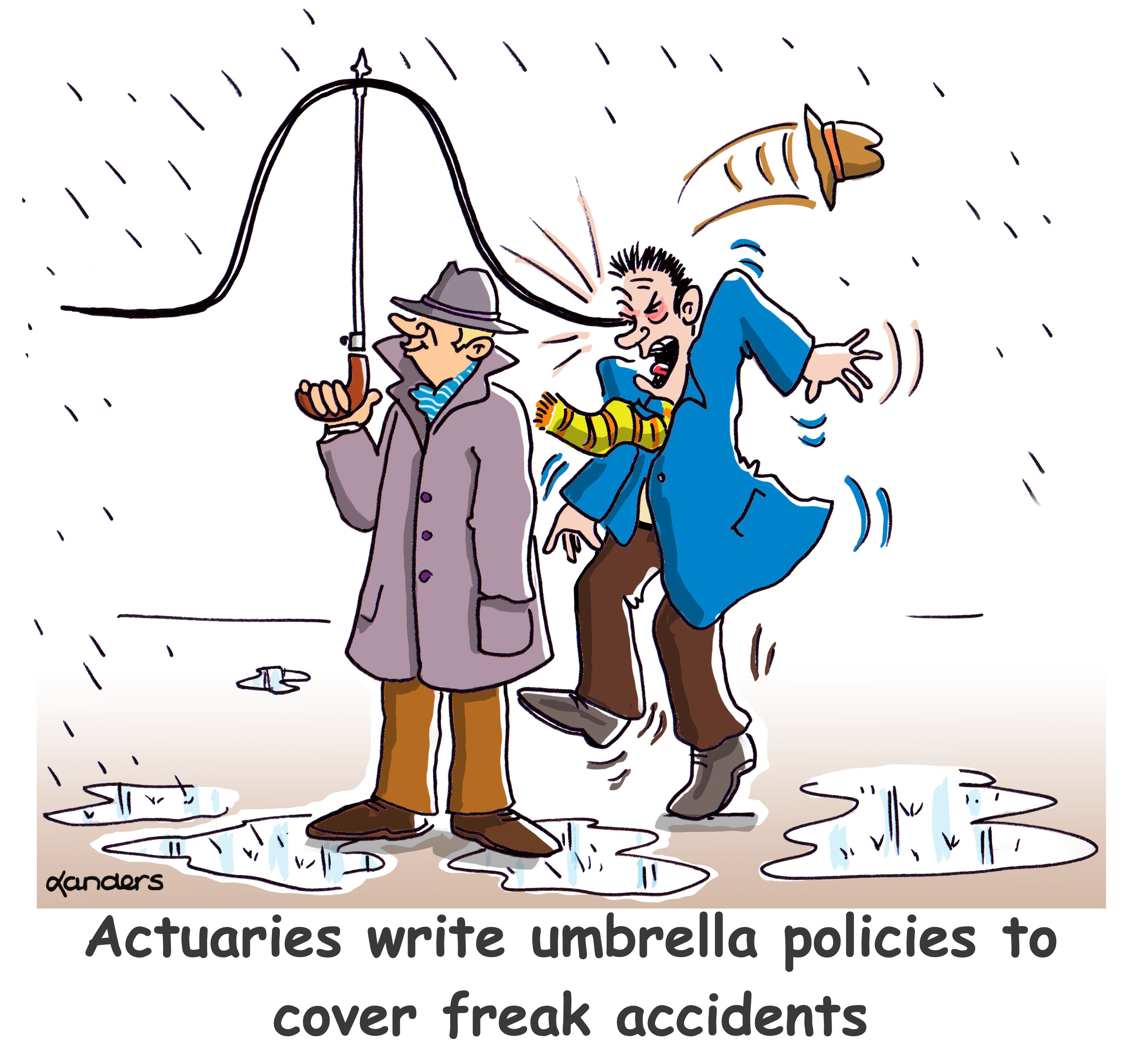 cartoon with man using an umbrella that looks like the normal curven