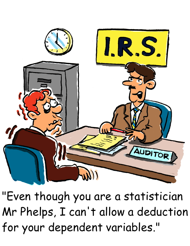 cartoon joking about tax deduction for dependent variables