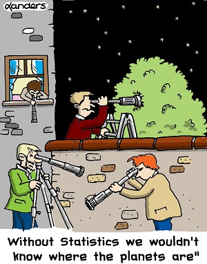 cartoon to illustrate the value of statistics in astronomy