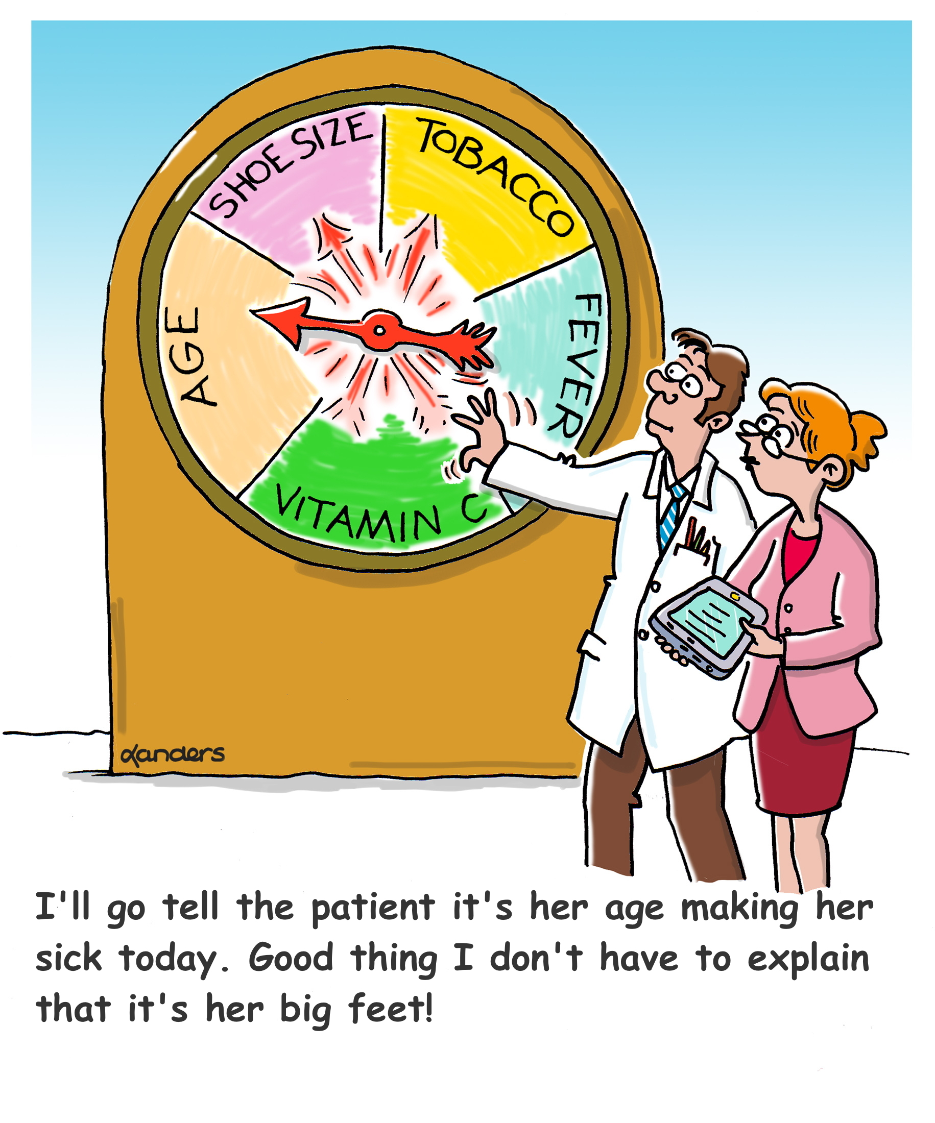 cartoon showing spinner with variable names and caption