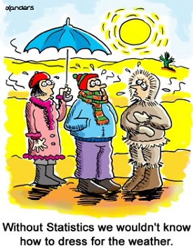 cartoon to illustrate the value of statistics in weather forecasting